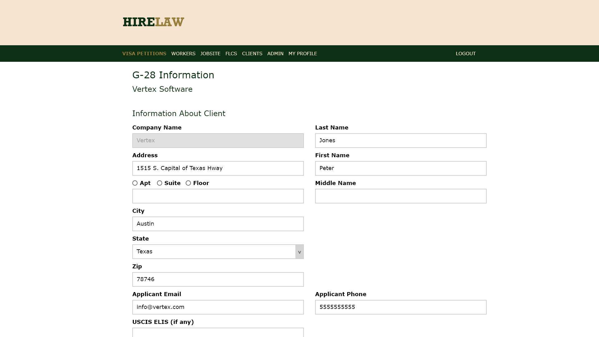 Hirelaw G-28 Form
