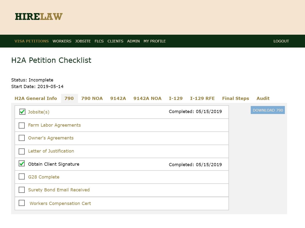 Hirelaw H-2A Petition Checklist