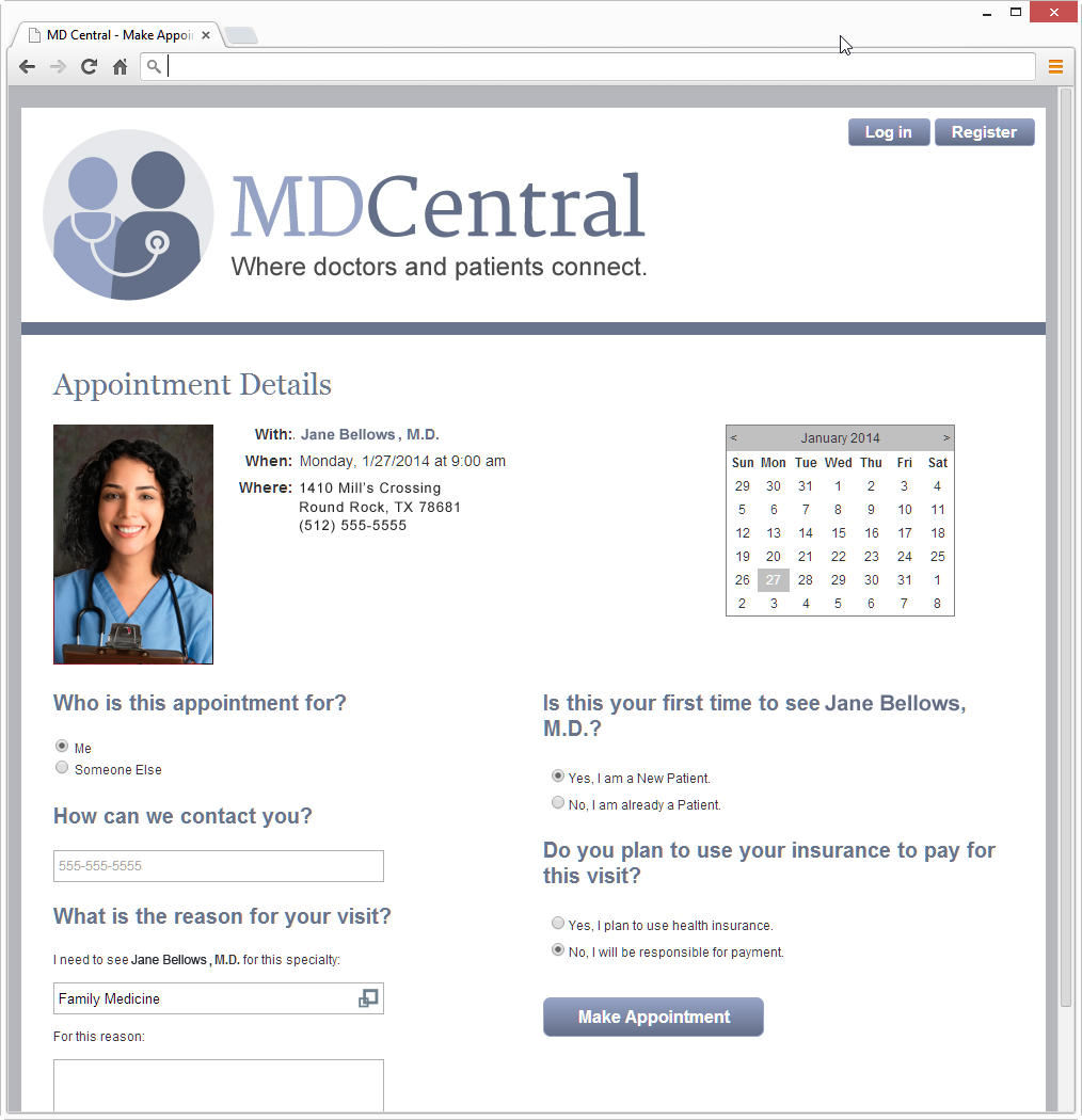 MDCentral Appointment Detail Screen