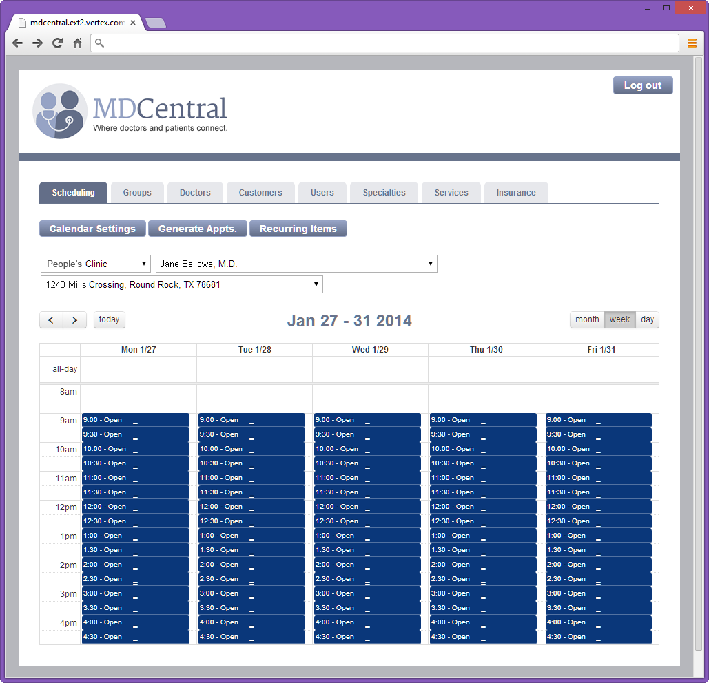 MDCentral Schedule Detail